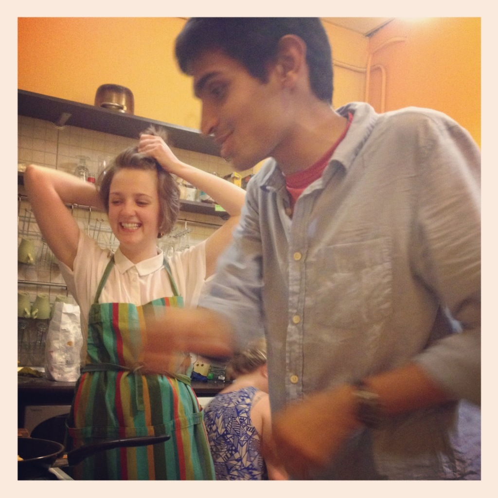Cooking with new friends in St. Petersburg, Russia
