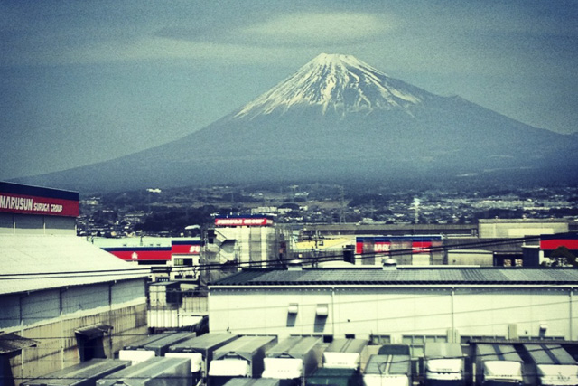 Mt Fuji from the Bullet Train to Kyoto Japan