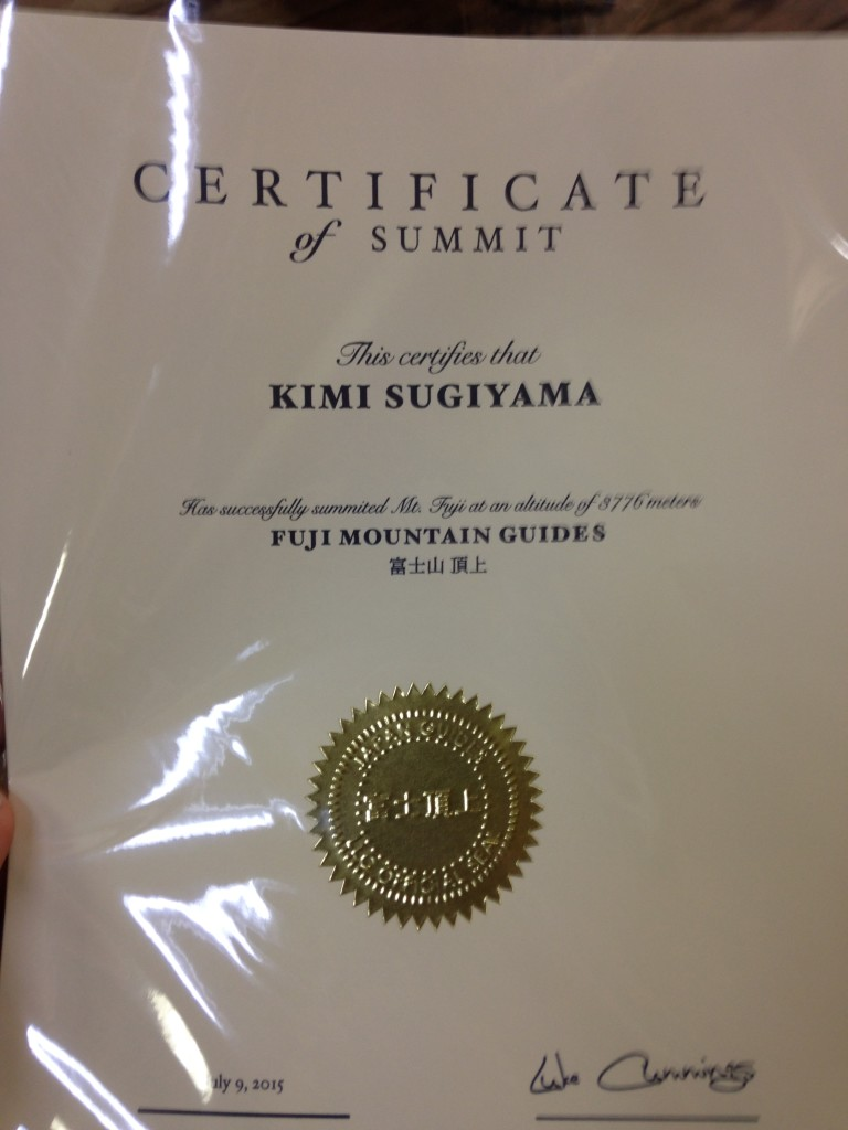 Mt Fuji Certificate of Summit